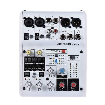 Ammoon Consolle di Miscelazione AM-4R 6-Channel Scheda Audio Mixer Audio Digitale Supporto Phantom Power Built-in 48V Alimentato da 5V Power Bank