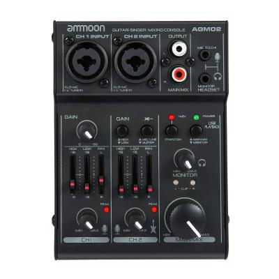 Ammoon Mini Consolle Mixer 2 Canali Mixer Audio Scheda Audio EQ 2 Bande Integrato