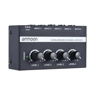 Ammoon MX400 Audio Mixer a 4 Canali Ultracompatte Low Noise Linea Mono